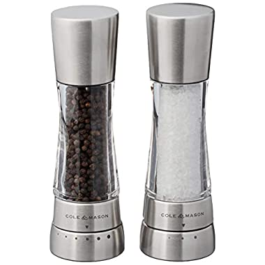 Cole & Mason H59408GUSA Derwent Salt & Pepper Mill and Grinder Set, Stainless Steel