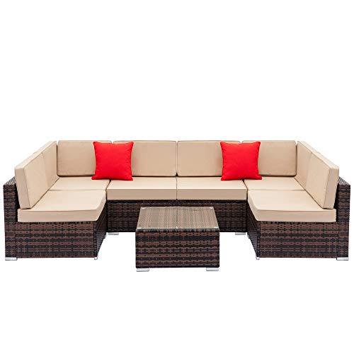 7 Pieces Patio Furniture Sets All Weather Outdoor Sectional Sofa Manual Fully Equipped Weaving Wicker Rattan Patio Conversation Set with Cushion and Glass Table (Brown & Beige)