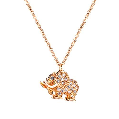 YNING Collar de Elefante de Corazón Femenino/Acero de Titanio Salvaje Femenino/Cadena de Suéter Chapada en Oro Rosa