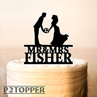Soccer Wedding Cake TopperFootball Cake TopperMr Mrs Cake TopperSoccer Player WeddingFootball playersCustom Cake Topper