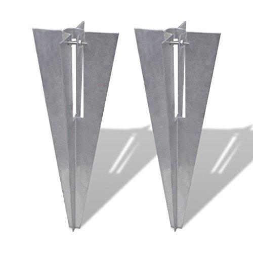 vidaXL 2X Support Poteaux à Enfoncer Terrasse Patio Grillage Clôture de Jardin