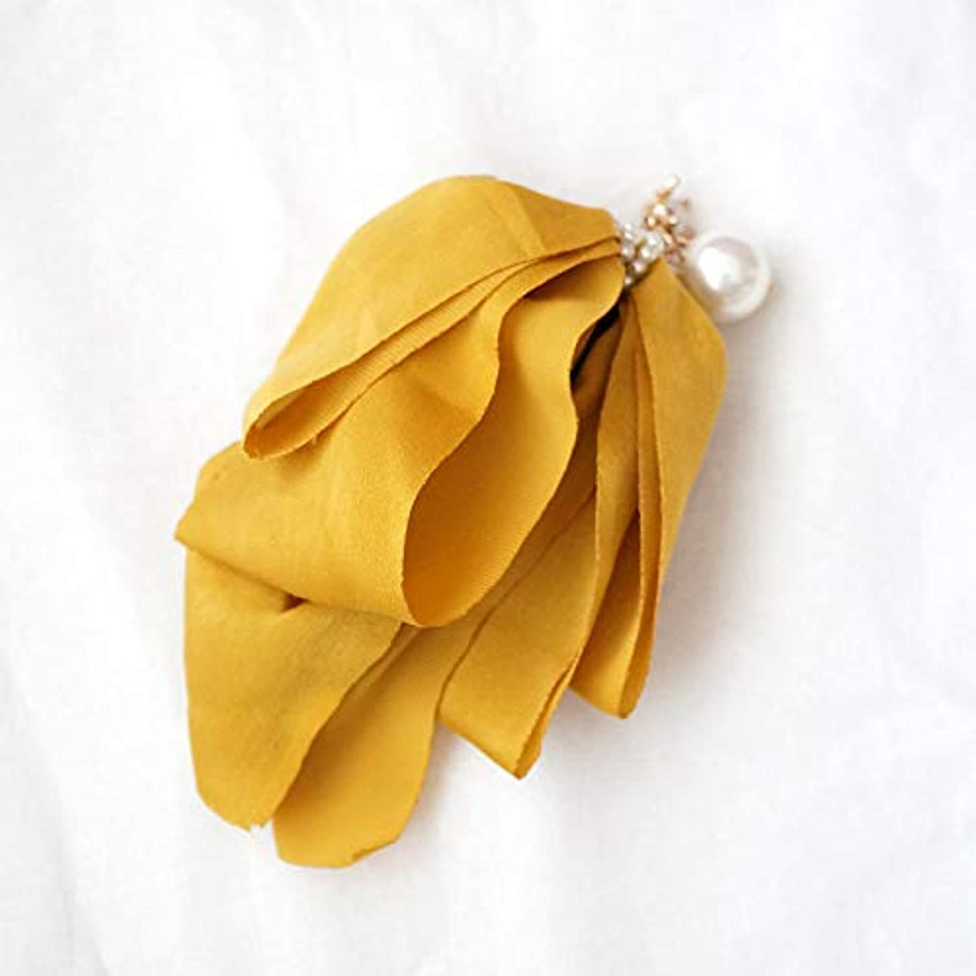 ゆるく夕食を食べるビームHuaQingPiJu-JP ファッションロゼットヘアピン便利なヘアクリップ女性の結婚式のアクセサリー(イエロー)
