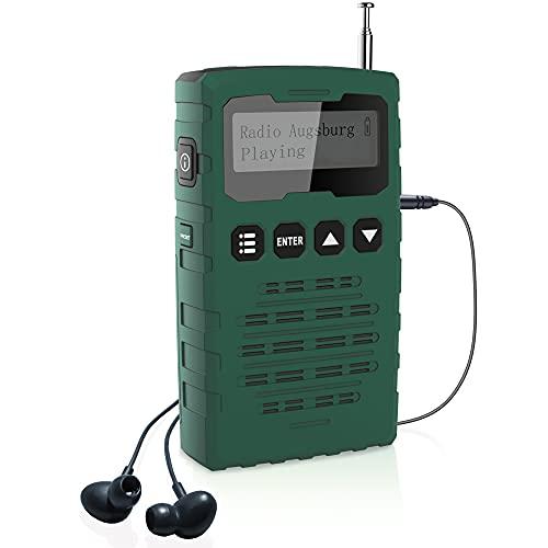 Mini Radio Portatile DAB/DAB+/FM, Radiolina Ricaricabile Digitale con l'Indicatore di Segnale, Supporta Batterie Sostituibili (AAA), per interni ed esterni (Verde)