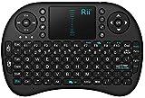 Rii Mini i8 RT-MWK08 UK Black - Teclado inalámbrico con panel táctil para PC/portátil/smart TV (Teclado QWERTY Inglés, 2.4 GHz, Bluetooth 3.0, teclas multimedia), negro