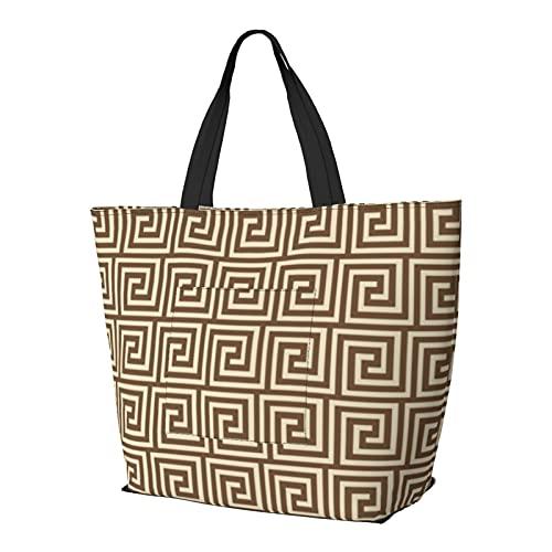 Griechische Key Shades Of Taupe Tan Schultertasche Multifunktionale Große Kapazität Handtasche Tablet Taschen Leichte Arbeit Tote Bag Weekender Reisetasche Strandsack für Frauen