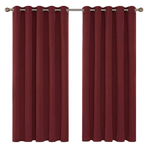 Deconovo Cortinas Infantiles de Salon Suaves Modernas con Ojales 2 Paneles 168 x 183 cm Rojo Oscuro