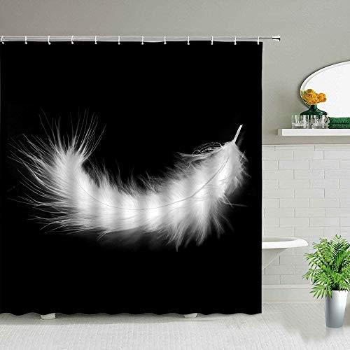XCBN Bunte Kunst Federmuster Duschvorhänge Wasserdicht Home Badezimmer Stoff Vorhang Set Badewanne Dekor Bad Displaye A2 180x180cm