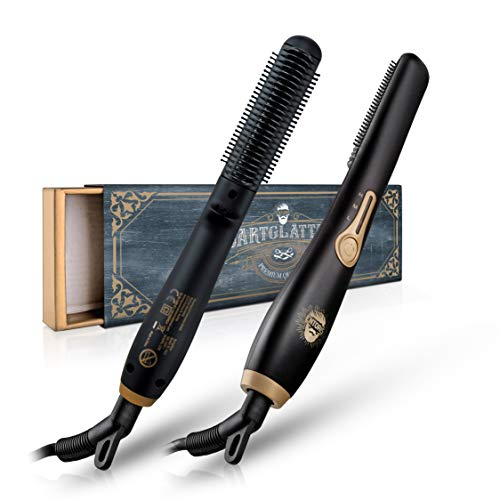 ENTORIS® Handlicher Bartglätter – [3] Temperaturstufen – Integrierte Ionen Generator – Idealer Haarglätter für Männer (Schwarz)