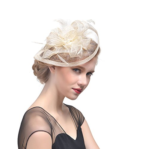 Fashband Braut Birdcage Schleier Fascinator Hut Blume Mesh Federn auf einem Stirnband und einem Clip Cocktail Tea Party Headwear Derby Kentucky Rennen Zylinder für Mädchen und Frauen (Beige)