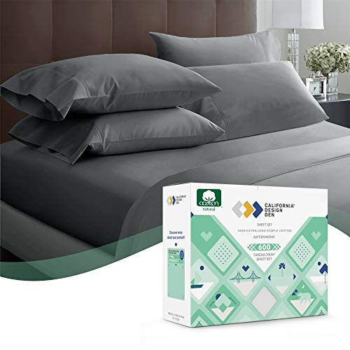 600 Thread Count Best Bed Sheets 100% Cotton Sheets Set Dark Grey Extra Long-Staple Cotton Queen Sheet for Bed, Fits Mattress 16'' Deep Pocket Soft & Silky Sateen Weave 4 Piece Sheets and Pillowcases