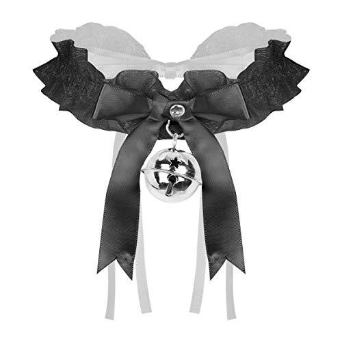 iEFiEL Choker Gargantilla Collar con Campana Colgante Collar con Lazo Harajuku Gtico Encaje Joyera de Moda Ajustable Regalo para Mujer Accesorios de lencera ertica Cosplay Negro One Size