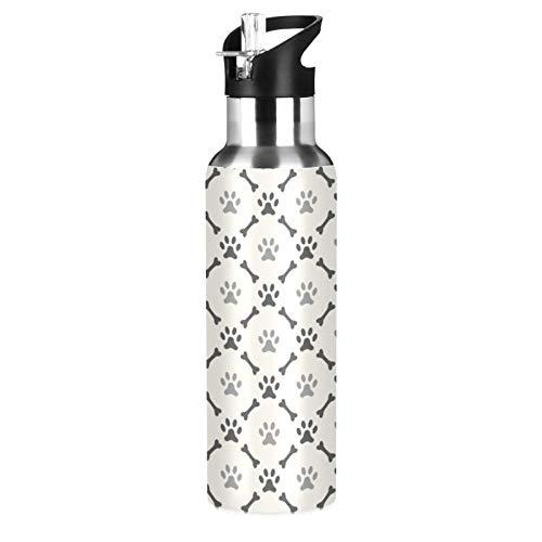 xigua Botella de agua deportiva aislada con tapa de popote de acero inoxidable al vacío, botellas térmicas a prueba de fugas, patas de perro a cuadros