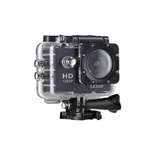 4k Sport wasserdichte Kamera LESHP 30 FPS Ultra HD 1080P Weitwinkel Aktion Camcorder mit Zubehör Kits für Fahrrad Motorrad Tauchen Schwimmen usw. (Schwarz, V60)