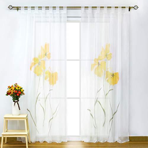 SCHOAL Gardinen mit Schlaufen Transparente Vorhänge Voile Fensterschal Modern Blumen Muster 1 Stück BxH 155x175cm Orange