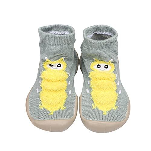 Rutschfest Krabbelschuhe Jungen Mädchen Bodensocken Weichen Sohle Lauflernschuhe Rutschfest Sockenschuhe Cute Raupe Kleinkind Schuhe Atmungsaktive Stricken Babyschuhe