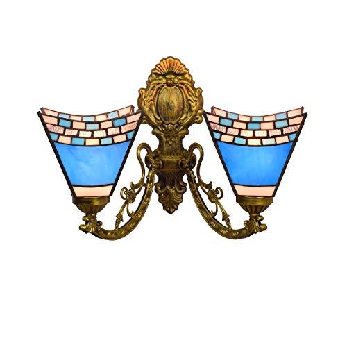 Huisdecoratie Brits donkerblauw creatieve gang dubbele kopwandlamp glasschilderij woonkamer eetkamer glazen lamp