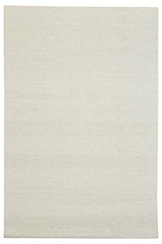 Morgenland Kelim Teppich FANCY Weiß Einfarbig Uni Wollteppich Kurzflor Handgewebt 180 x 120 cm