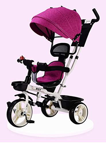 LJYDMMHH kinderdriewieler met afneembaar zonnedak schuifstang, 4-in-1 driewieler inklapbaar kinderwagen tricycle voor kinderen vanaf 8 maanden tot 5 jaar, blauw