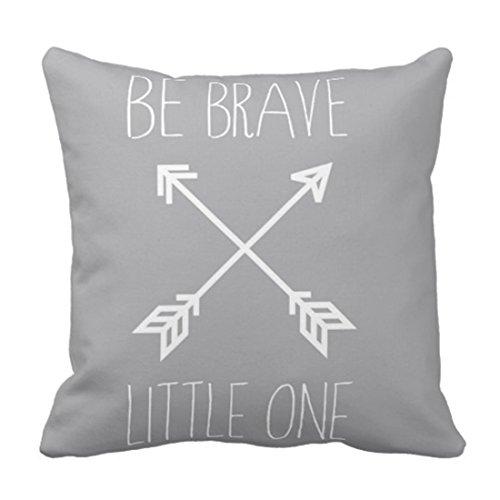 """Funda de almohada con diseño de flecha gris con texto en inglés """"Be Brave Little One Quote Aztec"""" para decoración del hogar, cuadrada, funda de almohada"""