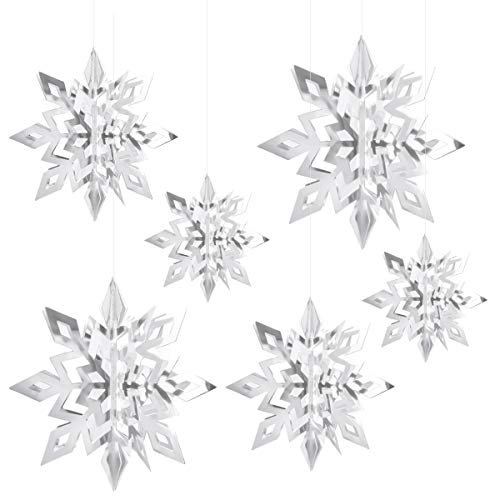 HQdeal Party Schneeflockendeko, 6 Stück 3D Schneeflocken, Hängende Schneeflocke Ornamente, Schneeflockendekoration für Kinder Geburtstag Weihnachten Winter Dekorationen