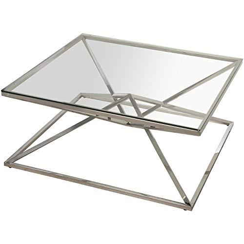 DRW Mesa de Centro de Metal y Cristal en Cromado y Transparente 100x100x43cm
