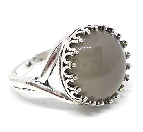 Lady Stardust Vintage Style Antique Silver Plated Adjustable Ring with Grey Agate Gemstone Cabochon