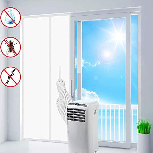 ASANMU Türabdichtung für Mobile Klimageräte, Klimaanlagen, Ablufttrockner, Wäschetrockner, Hot Air Stop mit Reißverschluss zum Anbringen an Balkontüren, Alternative zur Fensterabdichtung, 210x90cm