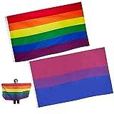 2pcs Bandera arcoíris Zeaye de 3 x 5 pies, colores vivos y resistente a los rayos UV, cabeza de lona y doble costura, banderas de orgullo gay