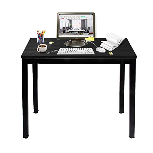 sogesfurniture Compact Computer Desk PC Laptop Table, Simple Home Study Table Writing Desk for Student, Multipurpose Workstation Office Meeting Table, 80x 40cm, Black BHEU-AC3CB-8040