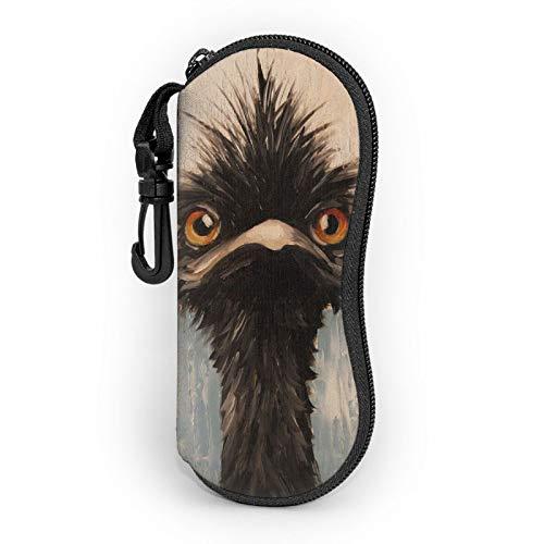 Emu oil painting Sunglasses Soft Case Ultra Light Portable Neoprene Zipper Eyeglass Case with Belt Clip