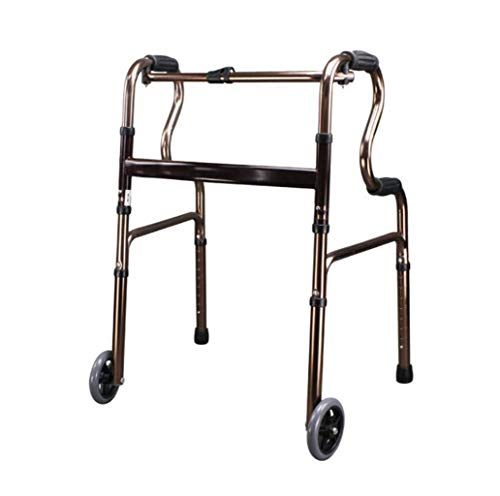 FGSJEJ Aluminiumlegierung Rollator, älterer Hemiplegia Walker, Höhenverstellung, rutschfestes Fuß-Pads, geeignet for Reha-Patienten, Menschen mit Behinderungen (Color : Brown)