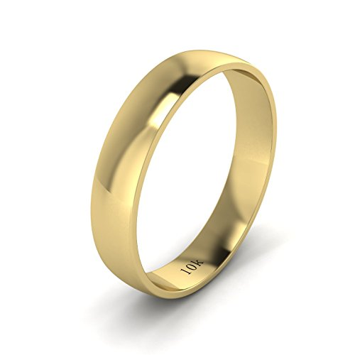 LANDA JEWEL Unisex Solid 10k Yellow Gold 4mm Comfortable Traditional Highly Polished Wedding Ring Plain Band (8)