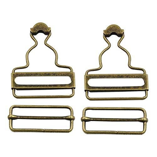 Healifty Latzhosenschnallen Ersatz mit Rechteck Schiebeschnalle Hosen Knöpfe 4 Stücke Bronze Innendurchmesser 3.8 cm