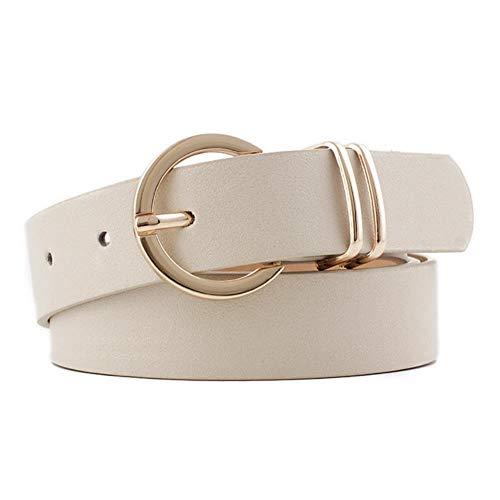 XMJ Negro Blanco Cuero Cinturón De La Hebilla De Metal Correa De La Correa De La Cintura Ajustable Cinturones Para Las Mujeres Ropa Accesorios, beige, 107cm