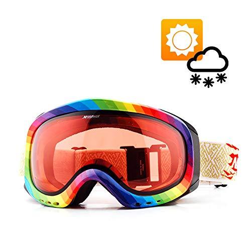 HXwsa Snow Goggles Transition Objektiv Photochromic Ski Snowboard Anti-Fog UV-Schutz Allwetter Night Vision Sunny Day Männer Frauen,B