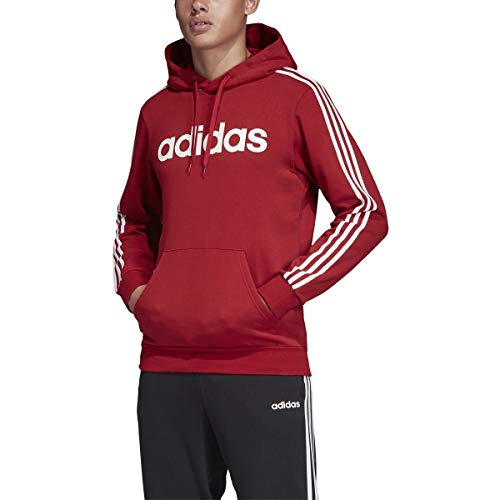 adidas Essentials 3-Stripe Pullover Linear Hoodie Active Maroon/White SM
