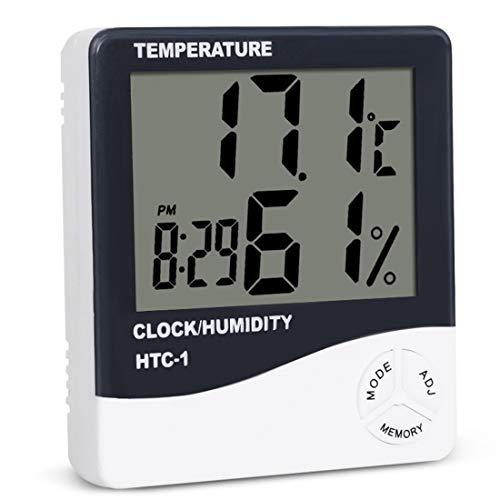 Carry stone Grand écran LED d'hygromètre de thermomètre de Digital d'intérieur avec Le réveil Lectures précises pour Le Bureau à la Maison de pièce 1PCS