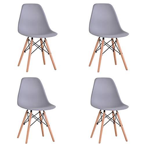 KunstDesign Set de 4 Sillas de Comedor, Diseño Ergonómico,Patas de Madera de Haya Natural (Gris)