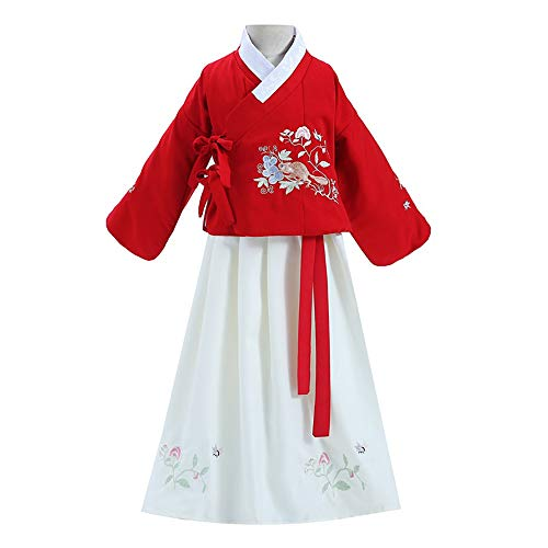 For Sale! FXNN Hanfu-Chinese Ancient Costume Squirrel Skirt Dress 90-170 (Color : Red+White, Size : ...