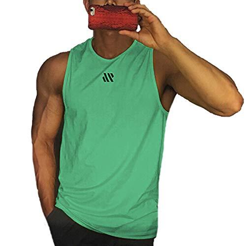 Camiseta sin Mangas de Entrenamiento para Hombre Chaleco para Correr Camiseta sin Mangas de Gimnasia Informal de Verano (Light Blue, L)