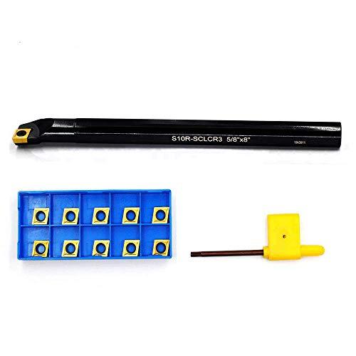 OSCARBIDE 5/8'' x 8''Indexable Boring Bar Right-Hand Sclcr Boring Bar with 10 Pieces Carbide Insert CCMT09T304(CCMT32.5)