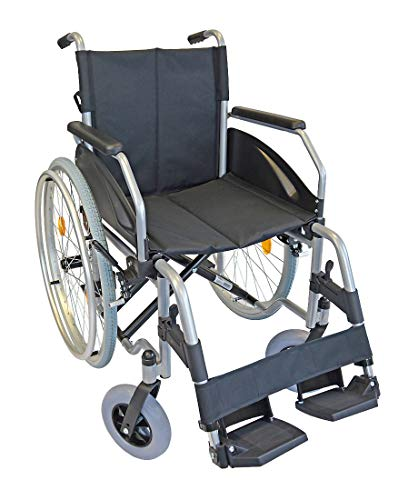 FabaCare Rollstuhl Alu Lexis Light, Leichtrollstuhl faltbar, mit Steckachse, Transportrollstuhl bis 130 kg, Sitzbreite 51 cm