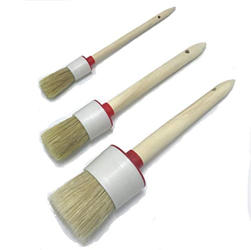 TripleLife Chalk Paint Wax Brush Round Stencil Brushes DIY Art Crafts Paint Brush for Chalk Waxing Art Home Decor (Set of 3)