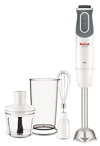 Tefal HB643140 Optichef Quartzite Hand Blender, 800 W, White
