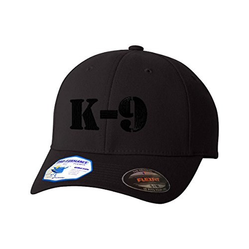 K-9 Black Logo Flexfit Adult Pro-Formance Branded Hat Black Large/X-Large