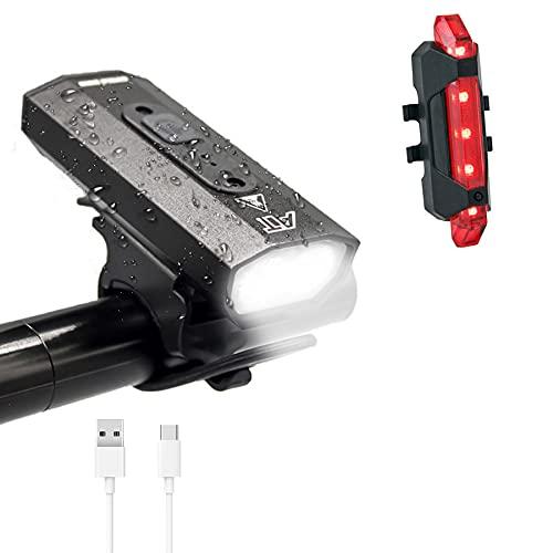 LYYDAN Fahrradlicht Set, USB Wiederaufladbare LED Fahrradbeleuchtung IPX5 Wasserdicht Doppelte Lampenperlen Fahrradlampe mit Rücklicht, Batterieanzeige und 6 Lichtmodi