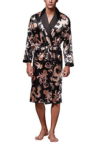 ZAPZEAL HAINE Night Robe Men Kimono Bademantel Satin Robe Langarm Nachthemd Morgenmantel Nachtwäsche, XL(Länge 114 cm / 44,9 inch inch ), Schwarz