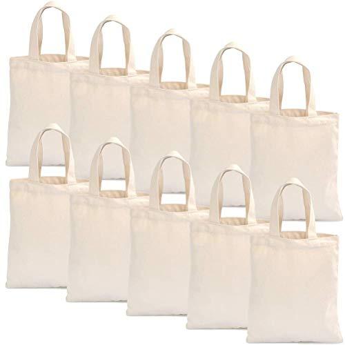YOTINO Lot de 10 Sacs en Coton Bio Naturel 23,5 x 26 cm, Tote Bag Coton Uni Lavable (Beige)