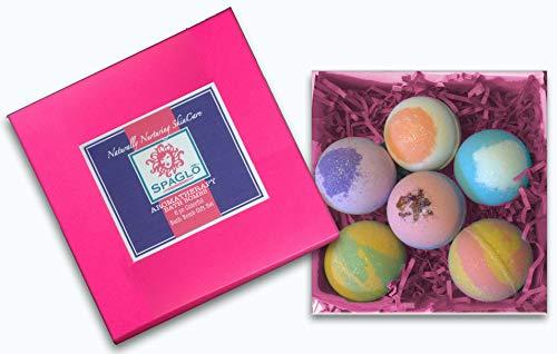 Bath Bombs Gift Set- 6 Colorful Extra Large 4.5-5oz Bath Bombs, Bath Bombs for Woman