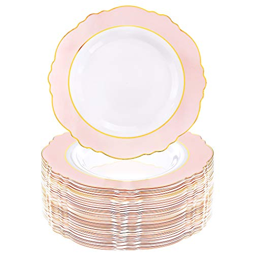 WDF 60pcs Pink Plastic Plates -Baroque Pink &Gold Disposable Dinner Plates for Upscale Parties &Wedding-Special for Bridal Shower, Mother's Day